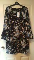 Wallis size 14 chiffon floral dress with frill cuffs in black