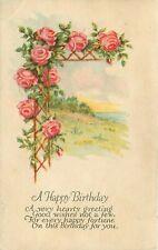 c1915 Db Postcard K048 Happy Birthday Rosebush Roses on Trellis Lattice Lake Sun