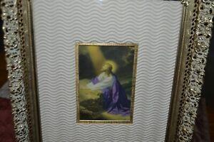 """VINTAGE FILIGREE WHITE WASH / GOLD METAL 10""""X12"""" PICTURE FRAME  JESUS RELIGIOUS"""