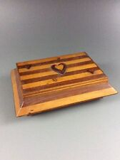 Handmade Folk Art Inlay Marquetry Heart Design Two-Tone Wood Trinket Jewelry Box