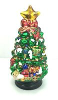 JCPenney Home Collection Blown Glass Christmas Tree On Wood Base Lot # 9653