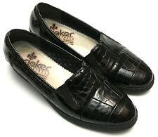 RIEKER Antistress Womens Sz 6.5 Slip On Loafers Dark Burgundy/Black Faux Reptile