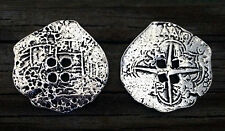 2 Pirate's Piece of Eight Coin Pewter Holes Buttons 1 3/8 Inch (35 mm) #1319