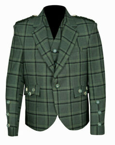 Traditional Style Lovat Green Tweed Argyle Kilt Jacket With 5 Button