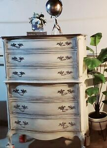 High Boy Dresser-Antique French Provincial-Solid Wood-Hand Painted