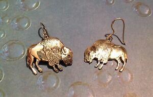 Southwestern Sterling 925 Buffalo Bison Pierced Earrings James Rogers