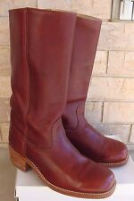 Vintage FRYE CAMPUS Pull-On Tall Boots 2950 Black Label Leather Burgundy Sz 10EE