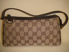 GUCCI GG Canvas Monogram Brown on Brown Leather Purse Pouchette