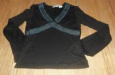Girls Cute Energie Brand Black~Colorful Stitch Designed L/S Shirt Top ~Size M~Ec