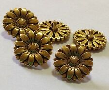 5 x 17mm Sunflower Gold Tone Metal Shank Buttons- Australian Supplier