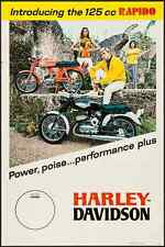 HARLEY DAVIDSON INTRODUCING THE RAPIDO vintage 1967 advertising poster 24x36