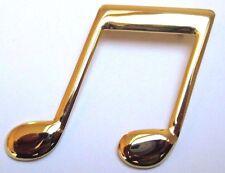 Grande belle originale broche bijou vintage note de musique couleur or poli 3323