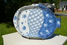 13in. Japanese blue and white fish shaped serving platter marked