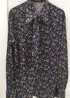 Vintage 70's Rikki Navy Floral Long Sleeve Blouse Top Tie Neck Size 14-16 EUC
