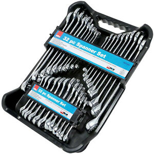 Combination Spanner Wrench Set. 32 Spanners Inc Stubby AF & Metric sizes