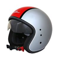 CASCO JET SCOTLAND BANDIT 120012 VINTAGE CAFE RACER CUSTOM MOTO METAL ROSSO