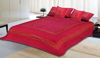5 PCs Indian Print Brocade Ethnic Silk Made Bed Sheet Bed Cover Decor