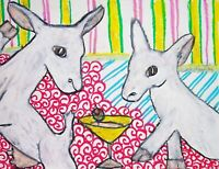 MINI SAANEN Drinking a Martini Dairy Goat Pop Art Print 8x10 Farm Collectible