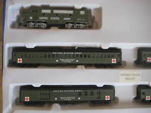 US ARMY MILITARY TRAIN SET F3 A LOCO,4 PASS CARS-DCC/DC/SX SOUND TRAXX + T/P