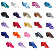 "Men's Slim Satin Tie 2"" Wide – Available in a Variety of Colours"