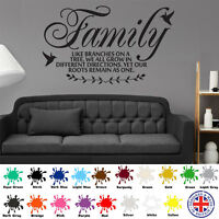 Family Like Branches on a Tree - Wall Art Sticker - Quote Decal Inspirational