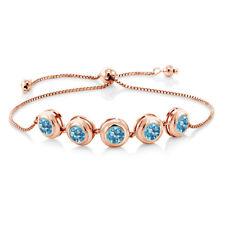 4.50 Ct Round Swiss Blue Topaz 18K Rose Gold Plated Silver Bracelet
