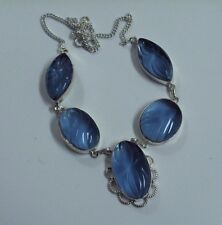 """CARVED CHALCEDONY SIMPLY LOVEY 20"""" SOLID 925 SILVER NECKLACE GORGEOUS"""