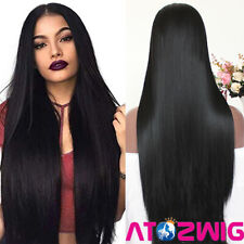 Long Black Synthetic Lace Front Wig Heat Resistant Straight Hair Women's Wigs
