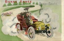 CARTE POSTALE FANTAISIE / BONNE ANNEE 1905 / VOITURE