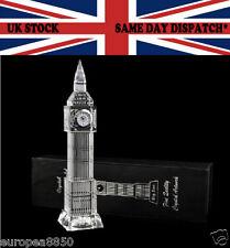 Big Ben Crystal Glass Clock 3D Laser Multi Lights London Souvenir Ornament 23 CM