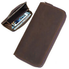 Men's Vintage Real Leather Long Wallet Zipper iPhone Case Card Holder Money Clip