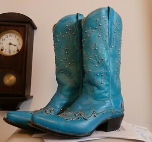 Beaded Turquoise Teal Cowboy Cowgirl SHOW Western Boots 9? EUC