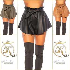 Koucla Ladies High Waist Leather Faux Leather Look Shorts With