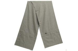 Authentic Hermes Scarf Cashmere Muffler Gray Leather Zipper Pockets 188cm x 34cm