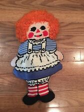 "Vintage Raggedy Ann 14"" Needlepoint Doll Pillow With Yarn Hair Plush Stuffed Toy"