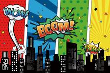 7x5ft Superhero Cartoon City Backdrop Game Party Background Photography Studio