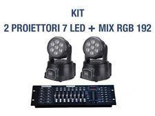 2 x PROIETTORE LED RGB TESTA MOBILE ROTANTE 7 LED WASH DMX + MIXER RGB DMX 192!!