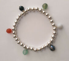 Sterling Silver 6mm ball bracelet With Assorted Agate Stone Beads