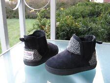 Breeze x Harris Tweed Blk Faux Fur Lined Slip On Winter Boots Little Kids size 7