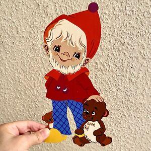 1970er Vintage Kinderzimmer-Deko Holz Bild Teddy-Zwerg 25cm Mertens-Kunst ALT