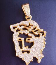 Mens Solid Yellow Gold VS Real Diamond Jesus Face Pendant Charm 6 Cts Video