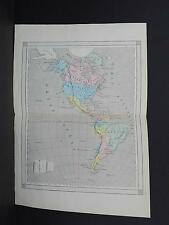Antique Maps, French Atlas, c. 1870, Hand Color, North & South America, S35