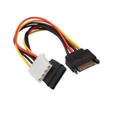 15 Pin SATA Male to 4 Pin & 15 Pin Female Power Cable Y Connector for HDD