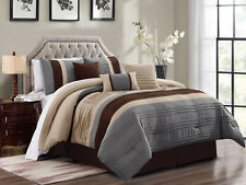 11P Liam Pleated Pintuck Comforter Curtain Set Beige Brown Slate Blue Gray Queen