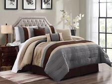 7-Pc Liam Pleated Pintuck Stripe Comforter Set Beige Brown Slate Blue Gray Queen
