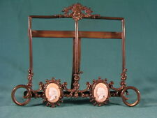 Antique Cameo Decorated Wirework Brass Miniature Twin Portrait Photo Easel