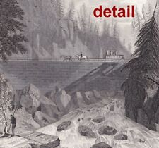 1834 steel engraving William Guy Wall ERIE CANAL, at Little Falls, Mohawk River