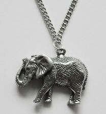 Chain Necklace #106 Pewter ELEPHANT WALKING (27mm x 21mm)
