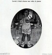 BAMBINO CON LO SPAZZOLINO DA DENTI. Dentista. Dentiste. Dentist. Zahnarzt. 1929