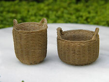 Miniature Dollhouse FAIRY GARDEN Accessories ~ Set of 2 Round Resin Baskets NEW